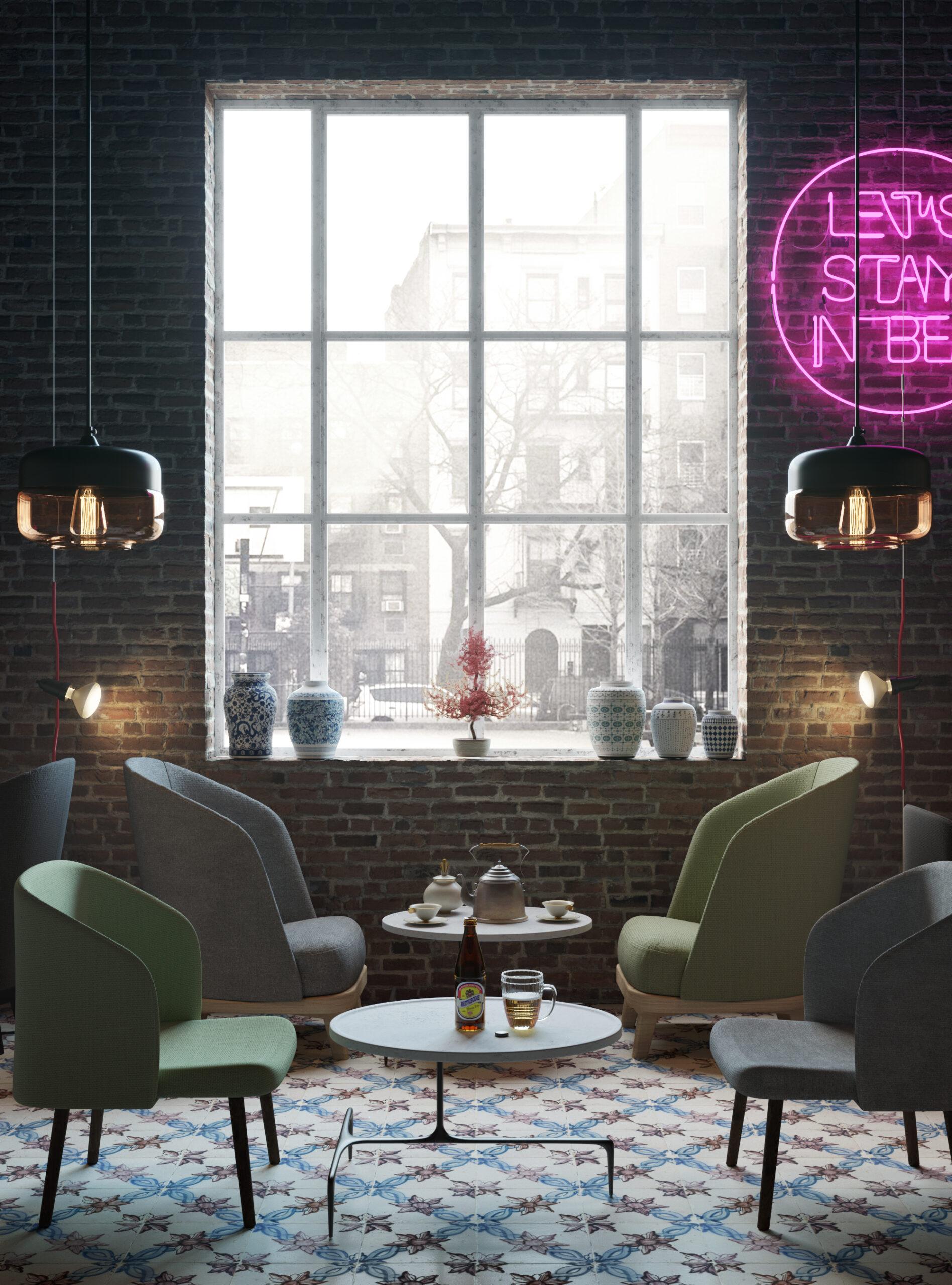 cafeteria con finestrone e neon fucsia