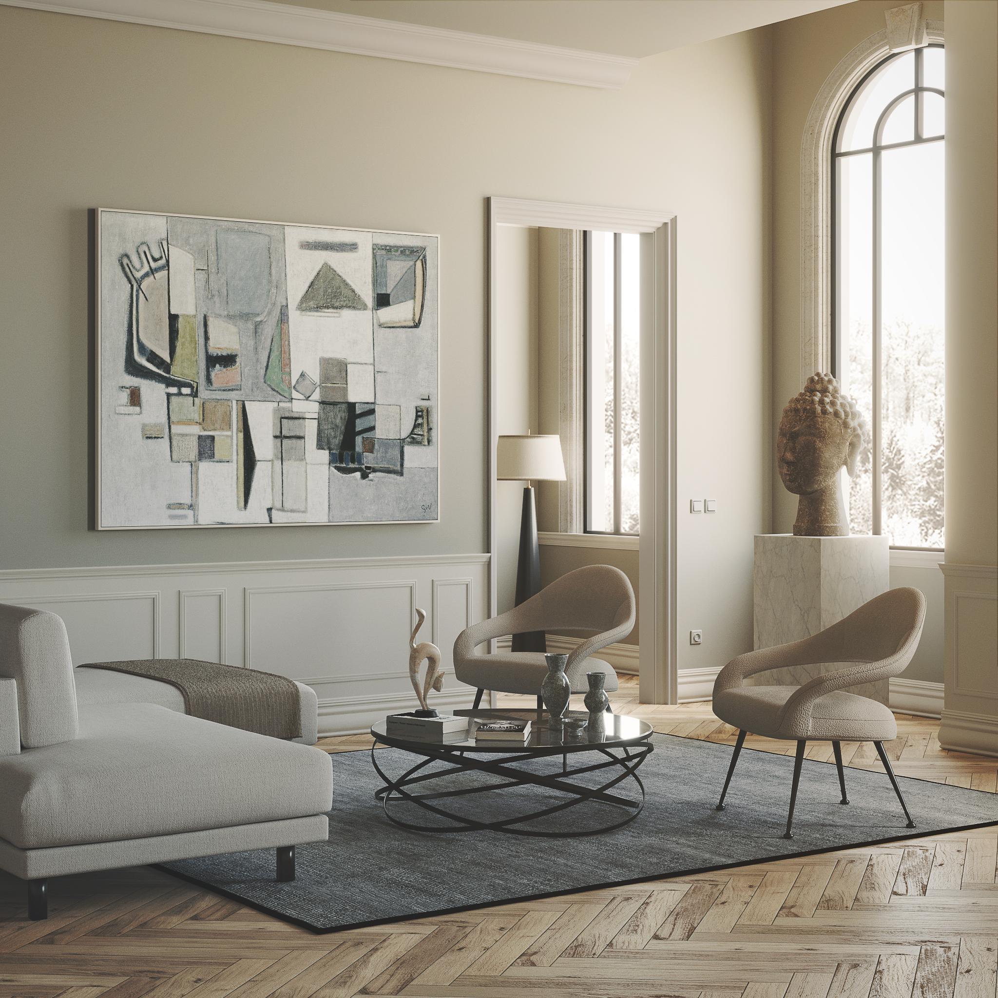 Living room: bianco d'autore con testa del Buddha