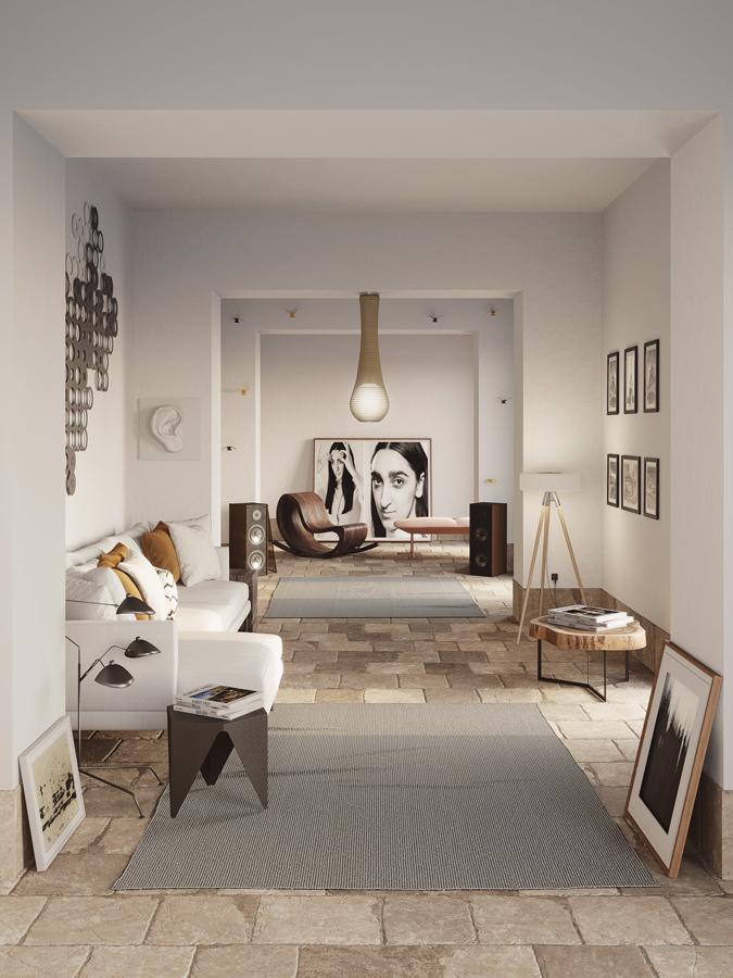 Un salone corridoio in cui tutti i materiali richiamano la natura: pietra, legno, con tessuti in semplice cotone bianco.