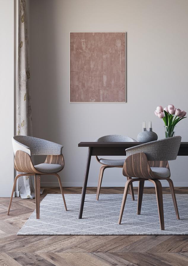 Una sala da pranzo che si nutre di semplicità e di bellezza composta. Pochi elementi d'arredo, quasi austeri nelle linee ma certamente accoglienti.