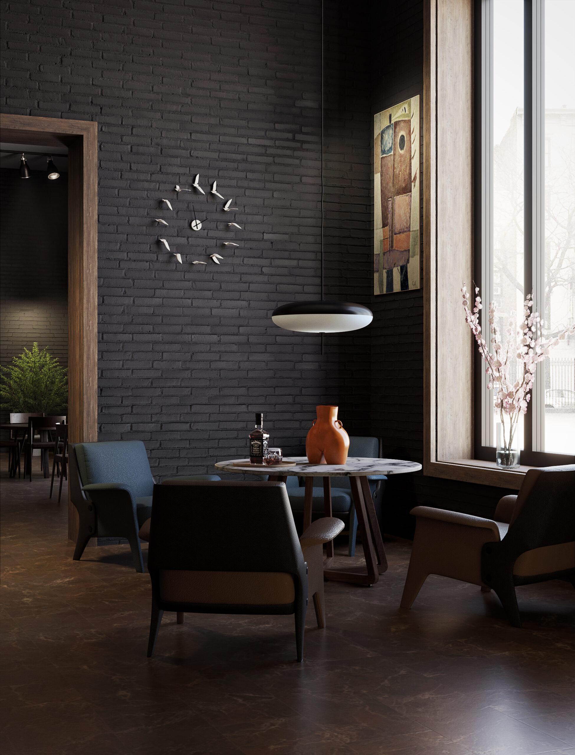 angolo ristorante con finestra e orologio a muro