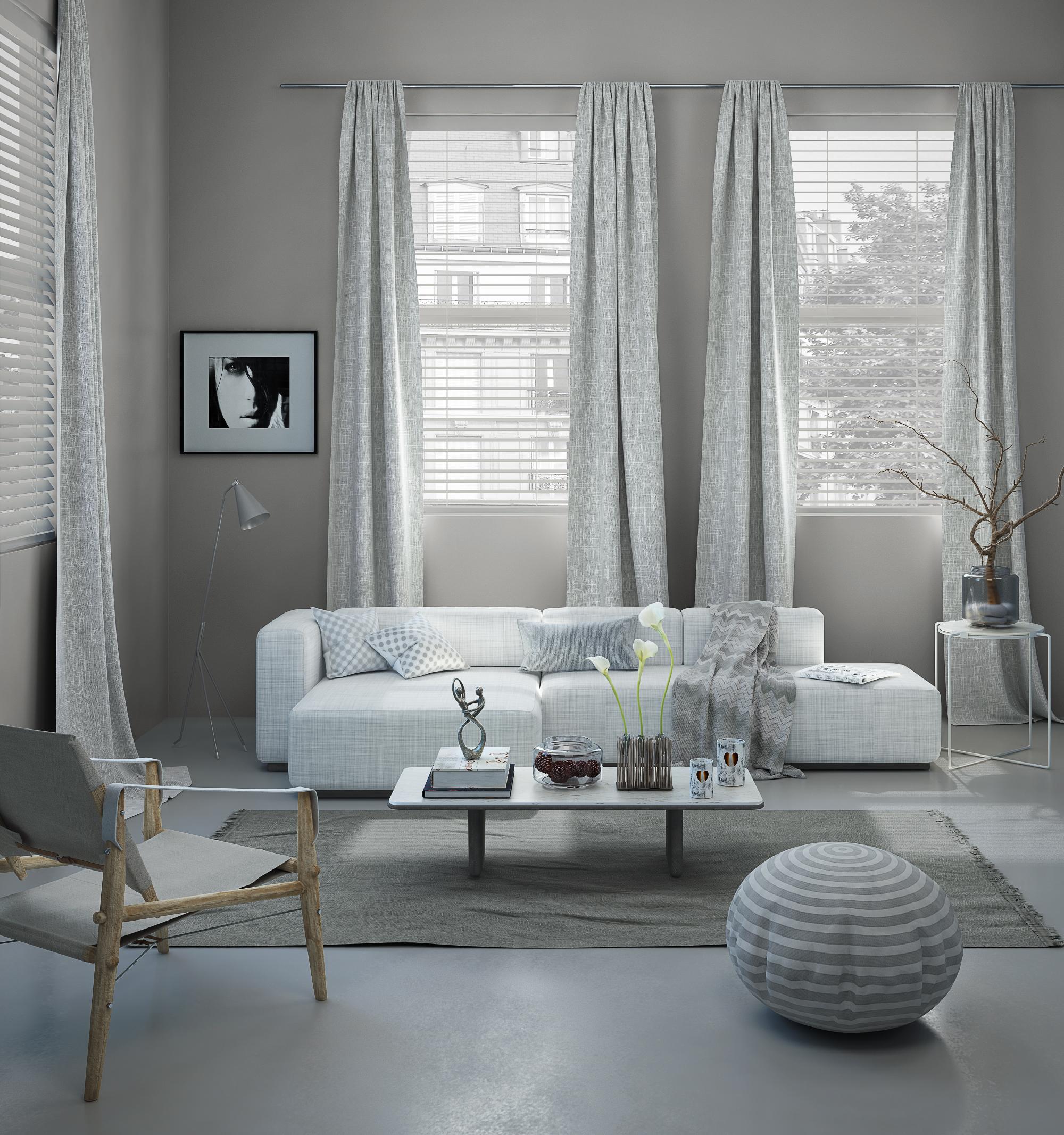 Salone grigio realizzato con V-Ray